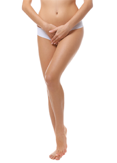 Young woman on white background. Gynecology concept